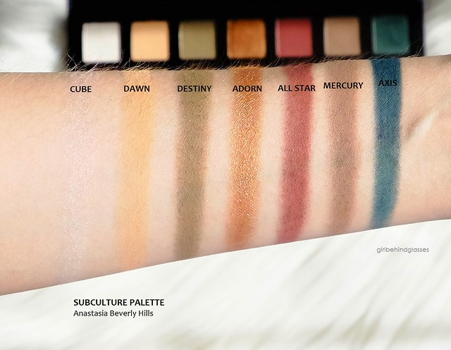 Anastasia Beverly Hills Subculture palette row1 swatches