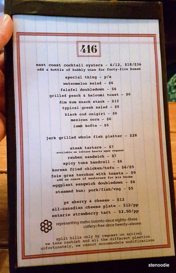 416 Snack Bar August 2017 menu and prices