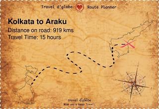 Map from Kolkata to Araku