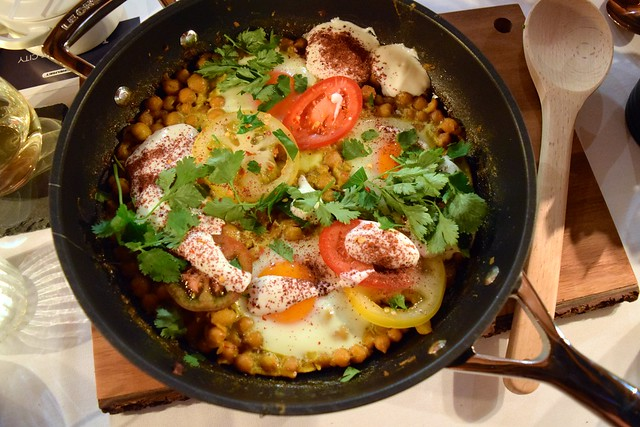 Baked Eggs with Chickpeas & Tomatoes | www.rachelphipps.com @rachelphipps