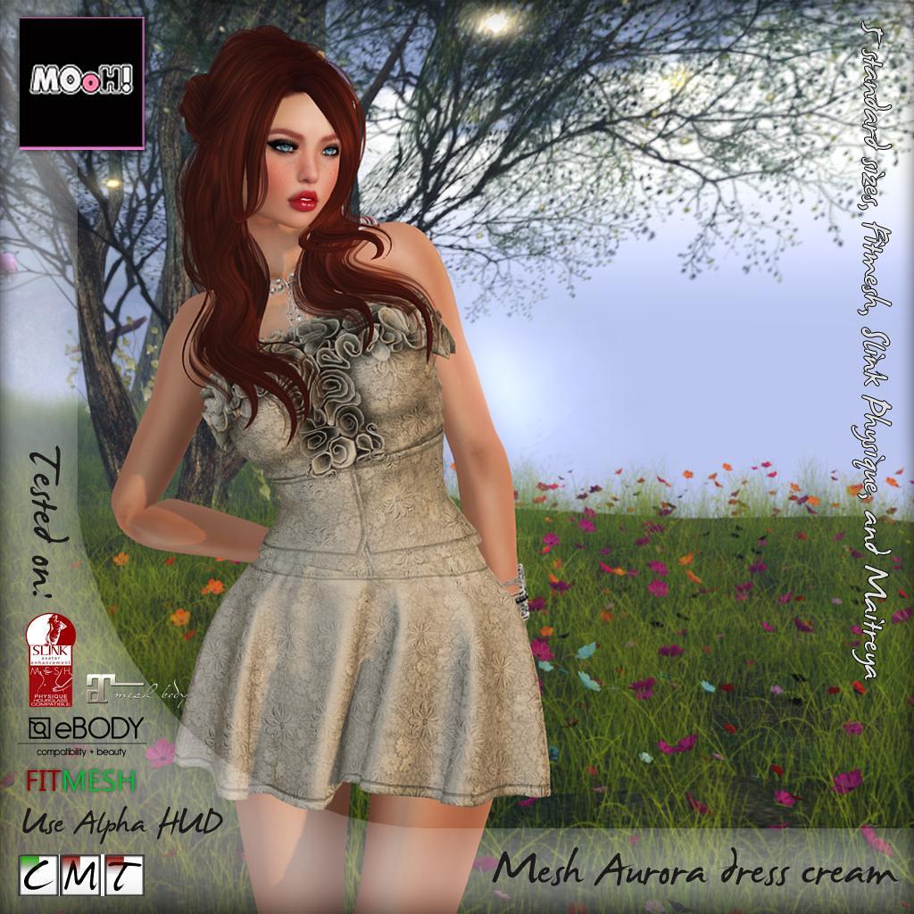 Aurora dress cream - SecondLifeHub.com
