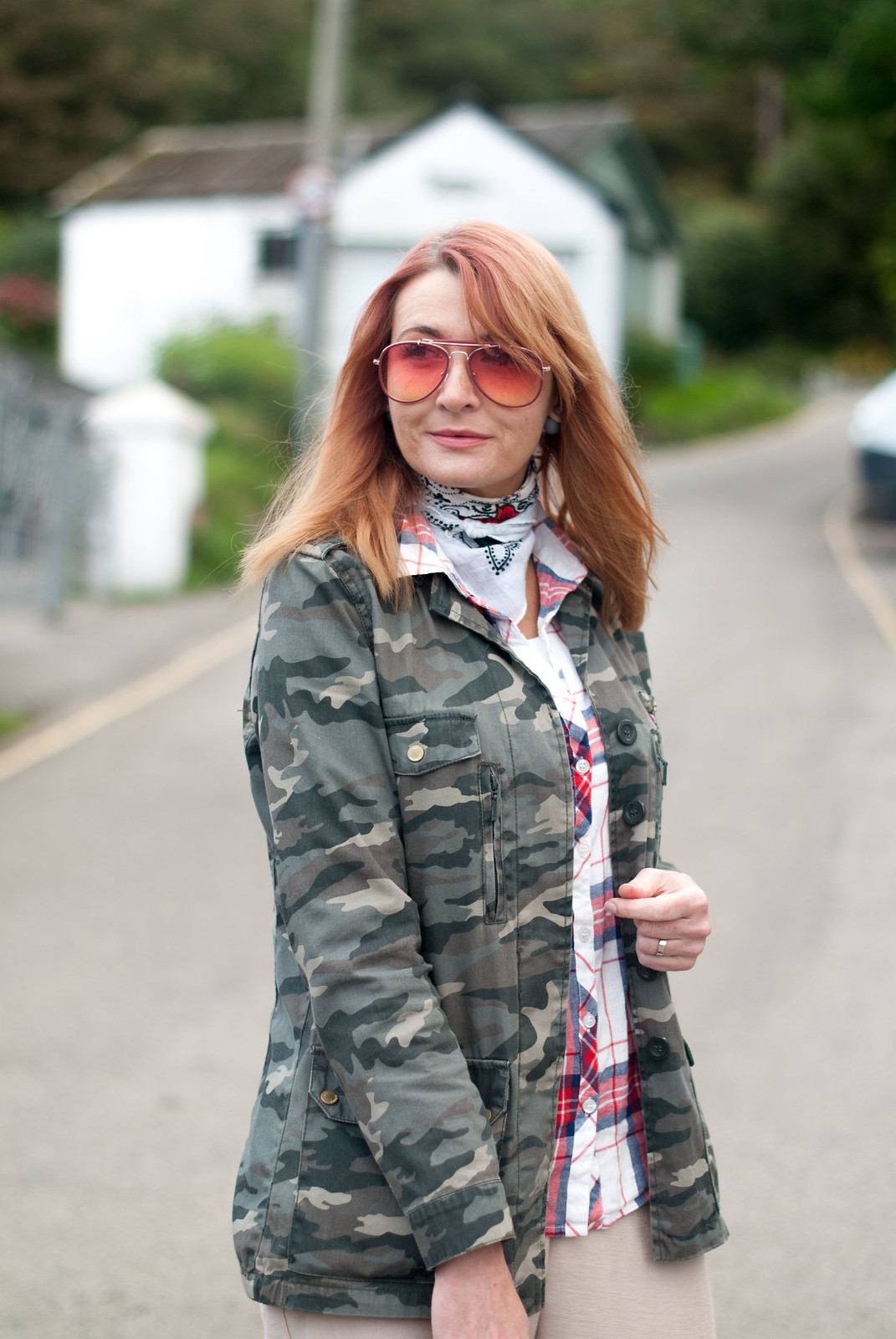 Super casual autumnal pattern mix: Camo jacket check plaid shirt cream peg pants trousers white Adidas Stan Smiths | Not Dressed As Lamb, over 40 style