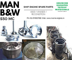 MAN B&W, M/E, Spare Parts, Cyl, Cylinder heads, Liner, Piston, Bolts, cooling jackets, besring, nozzle, fuel injection parts