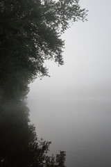 Misty morning on the James River in Virginia