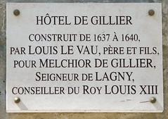 Photo of Louis Le Vau, Hôtel de Gillier, and Melchior de Gillier white plaque
