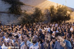 Prayer outside Al Aqsa, Lions' Gate, East Jerusalem, 21.7.2017