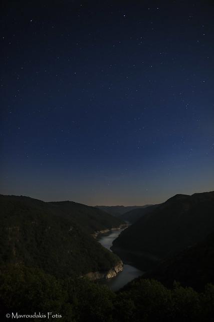 Starry night over Nestos river