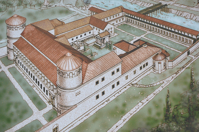 Reconstruction drawing of the Governor's Palace of Aquincum (Budapest)