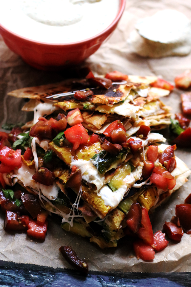 Cheesy Zucchini Quesadillas with Heirloom Tomato Salsa and Corn Crema