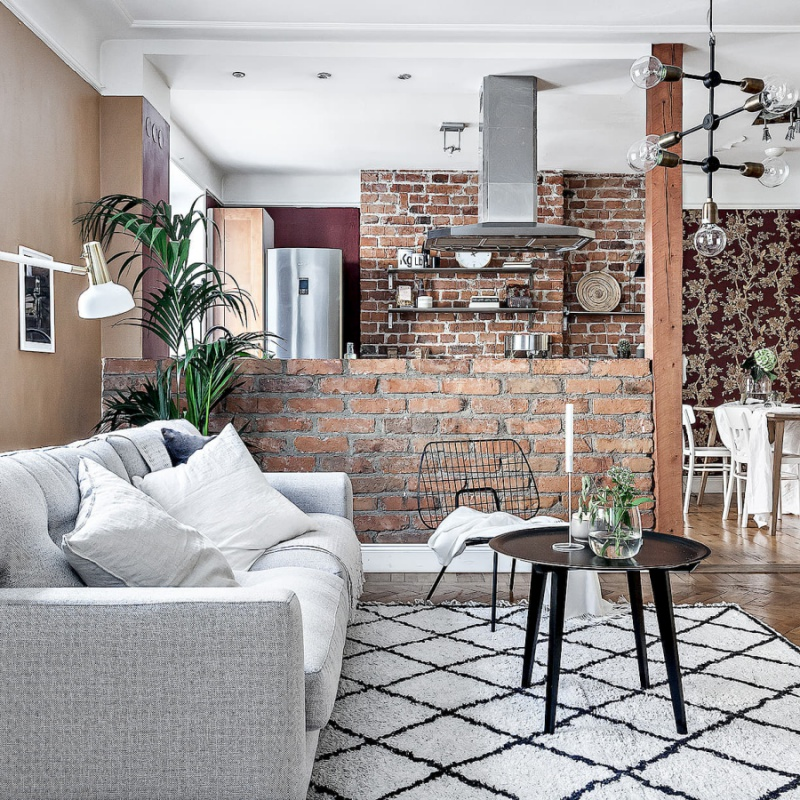Swedish Home With Brick Walls and Wooden Floors