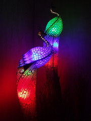 Illuminated glass peacocks