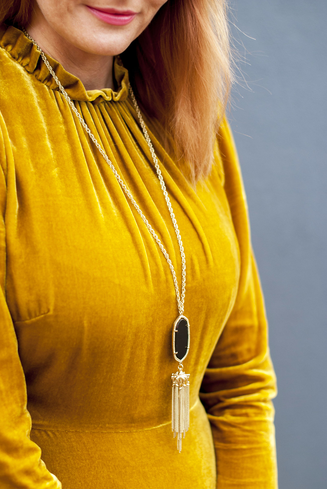 Desk to dinner outfit: One dress styled two ways | A Hobbs yellow ochre velvet midi dress with ruffles styled as office workwear and a date night outfit