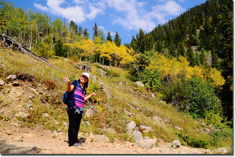 Taken from the trail up to Lost Lake, aspen leaves are turning yellow 2