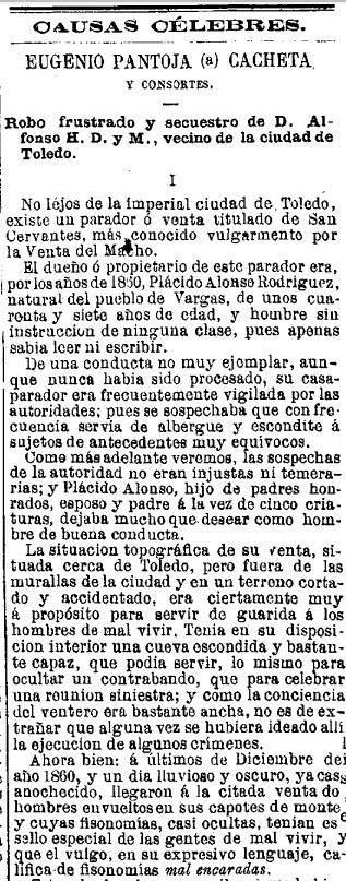 Secuestro en el Parador del Macho. Publicado en El Periódico para Todos el 21 de enero de 1877