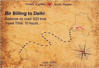 Map from Bir Billing to Delhi