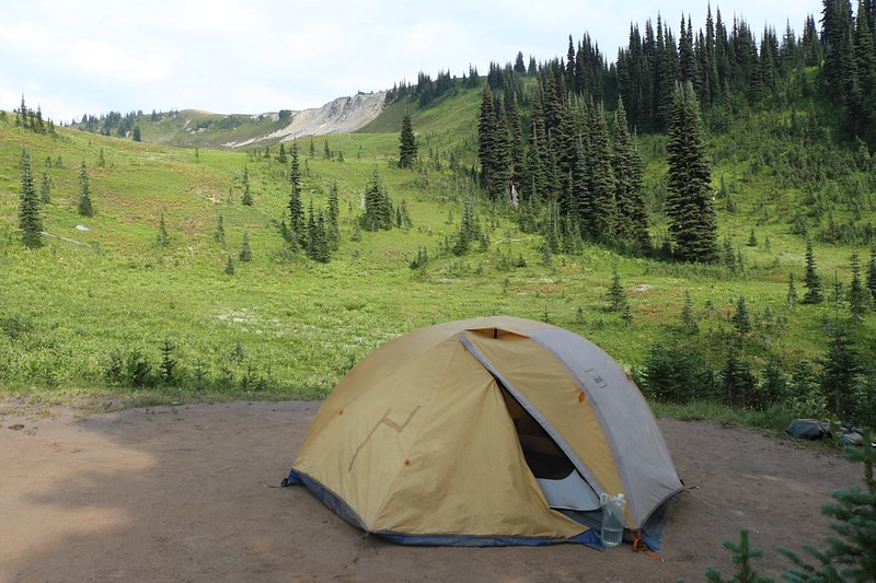 Our tent and campsite at Image Lake with Miners Ridge up above us