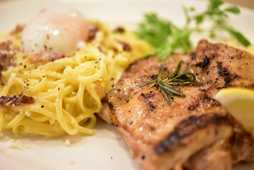pasta & grill combination plate (Carbonara with soft-boiled egg & Herb Grill Chicken
