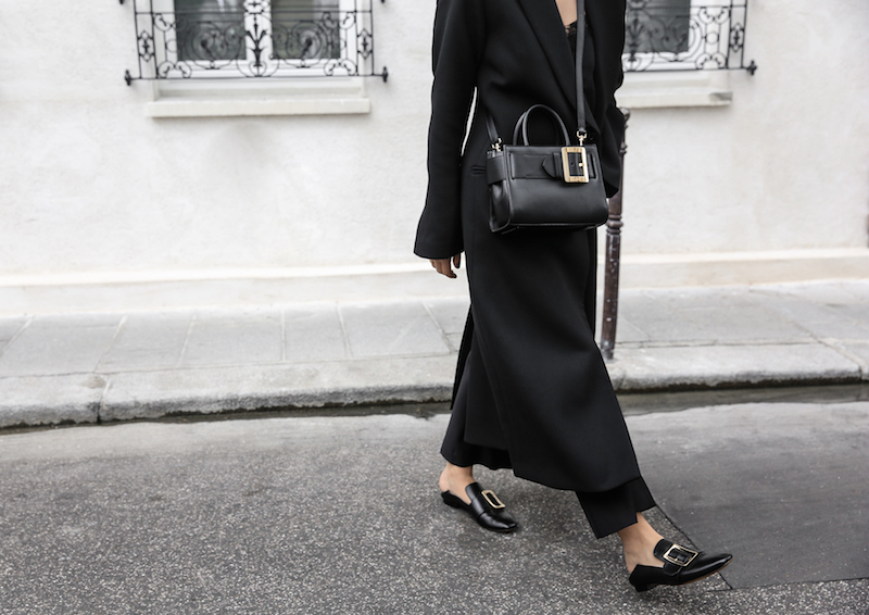 black bally buckle bag loafers minimal paris street style kaity modern legacy outfit inspo (1 of 1)