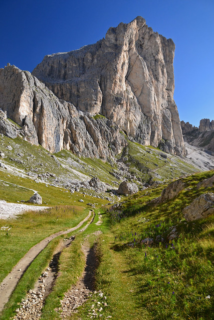 Walking towards Mugoni (2750 m) in the Dolomites