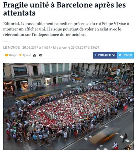 17h26 Fragile unité à Barcelone après les attentats