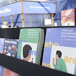 Lots of brochures in the Book Festival Entrance Tent |