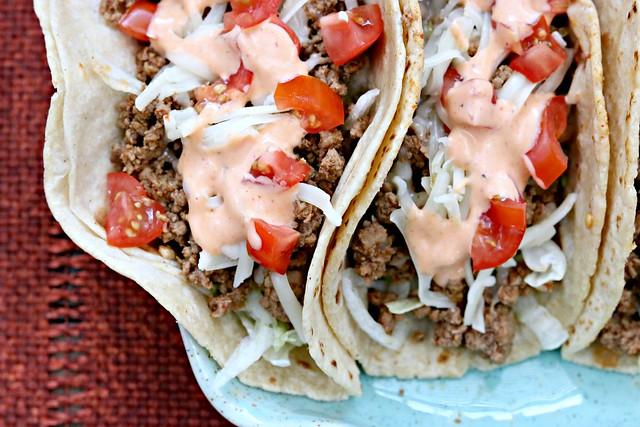 Sriracha Beef Tacos Top Close