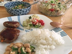 Mmm summer eats! Hamburgers, rice, natto & okra salad, quinoa salad
