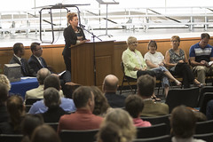 Rep. Melissa Ziobron addresses the audience after an official ribbon cutting ceremony for the recently renovated and expanded East Hampton High School.