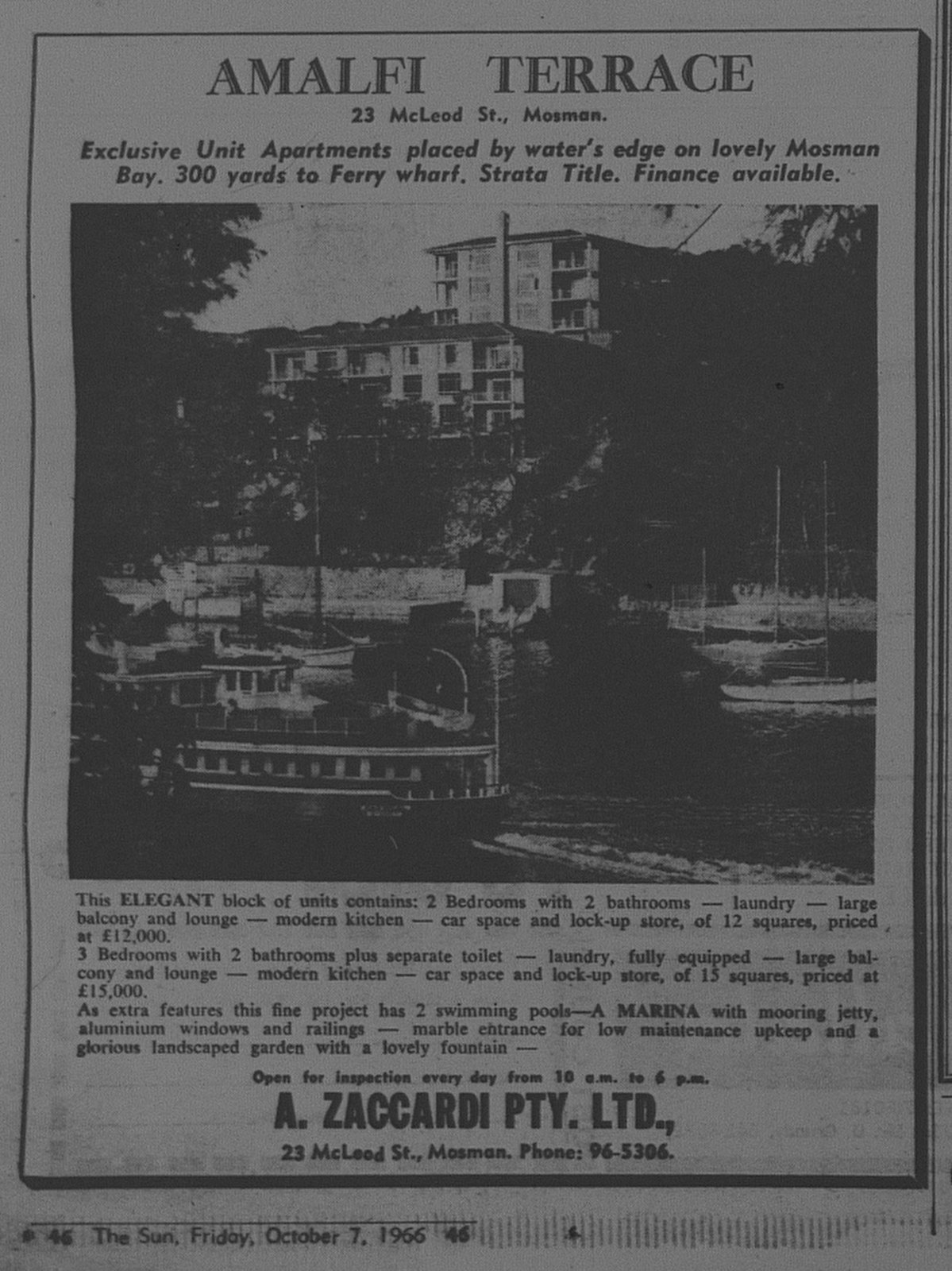 Amalfi Terrace Mosman Ad October 7 1966 The Sun 46