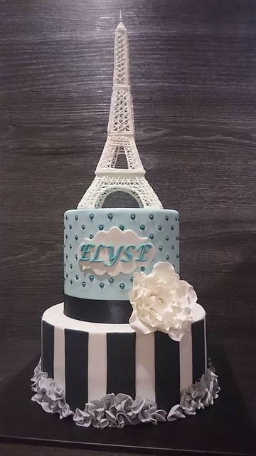 Paris Themed Eiffel Tower Cake by Nicole Lacina
