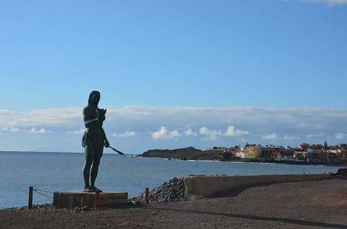 Die Statue des letzten Anführers der Guanchen von Gomera