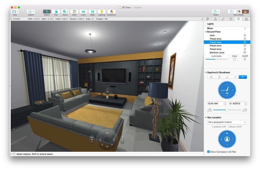 Live home 3d 3 3 4 powerful interior design app macos for Interior design web app