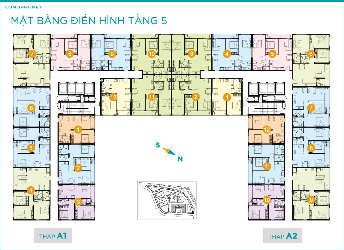 Mặt bằng căn hộ tầng 5 tháp A dự án Lavida Plus quận 7 - Quốc Cường Gia Lai.