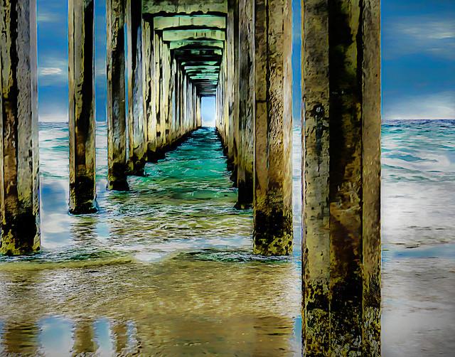 Scripps Pier (painterly}