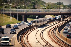 Blue Line along the Kennedy Expressway