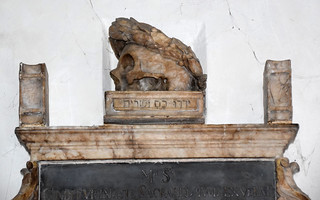 wreathed skull (Caius Cibber, 1662)