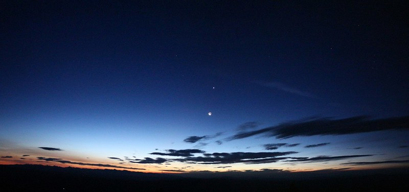 Crescent Moon and Venus at sunrise with only two days left until the eclipse, from our campsite on Dixie Butte