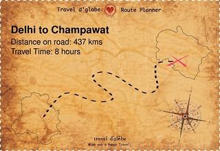 Map from Delhi to Champawat