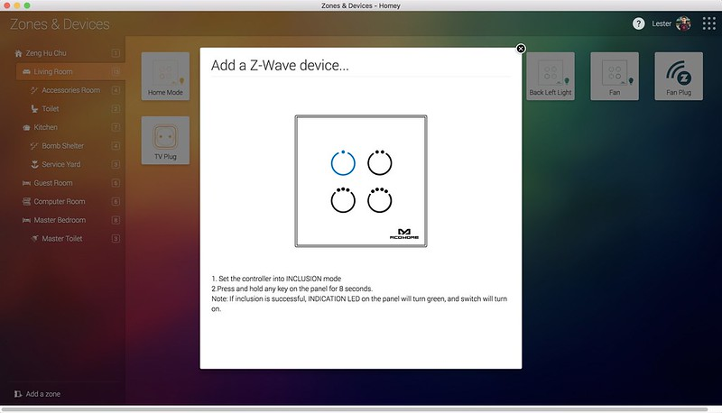 Homey Desktop App - Zones & Devices - Add Device Step 2