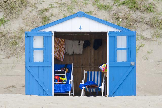 Beach  hut with open doors