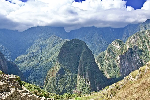 The sky touching mountain peaks of Machu Picchu, Peru