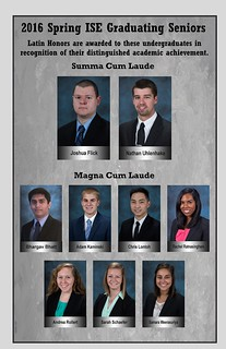 2016 Spring ISE Latin Honors Recipients