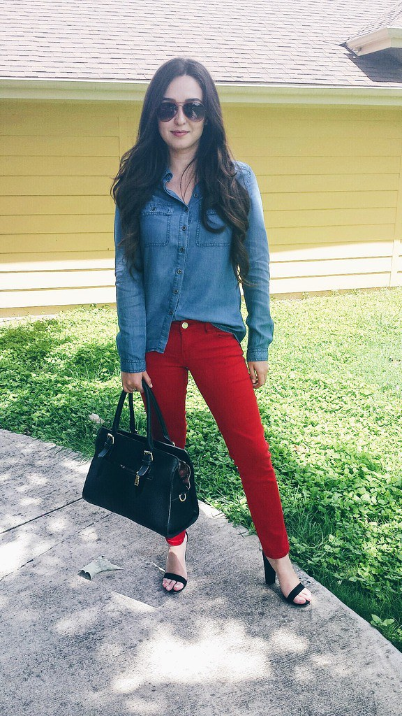 red denim outfit ideas