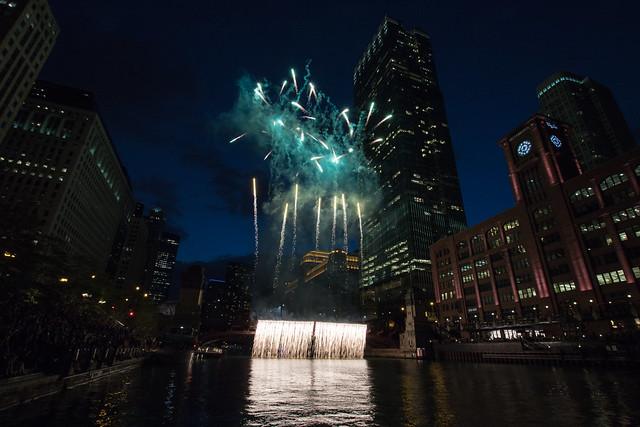 Chicago riverwalk fireworks