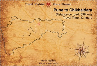 Map from Pune to Chikhaldara