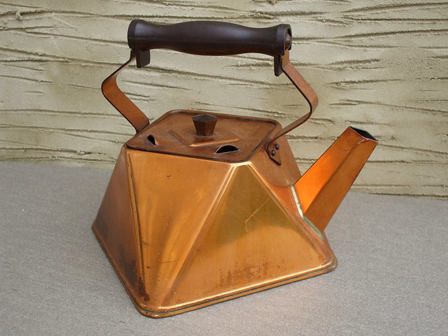 Vintage Angular Shaped Art Deco ? Copper Kettle Kitchenalia