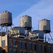 Water Towers as seen from The High Line in Chelsea in Manhattan in New York City, NY