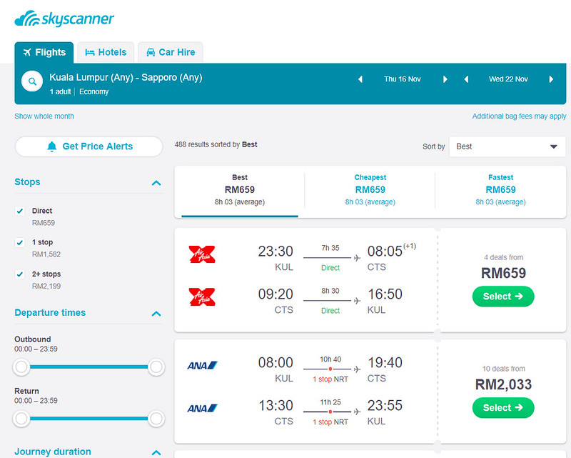 skyscanner sapporo options