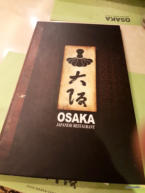 Restaurant Osaka menu cover