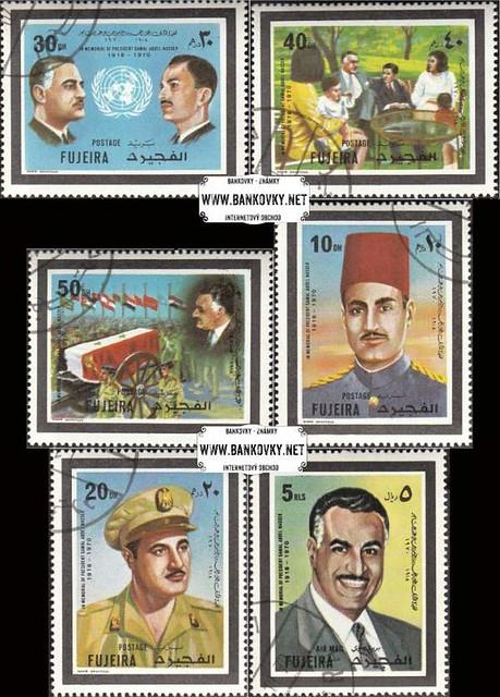Známky Fujeira 1970 Gamal Abd El Nasser, razítkovaná séria